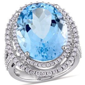 Allura 22 CT. Oval Blue Topaz and 0.93 CT. Diamond Double Halo Ring in 14K White Gold