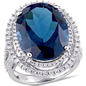 Allura 22 CT. T.G.W. Blue Topaz and 0.93 CT. T.W. Diamond Double Halo Cocktail Ring in 14K White Gold