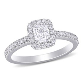 Allura 0.87 CT. T.W. Round and Radiant-Cut Diamond Halo Engagement Ring in 14k White Gold