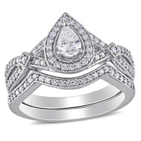 Allura 0.58 CT. T.G.W. Pear and Round-Cut Diamond Teardrop Bridal Set in 14k White Gold