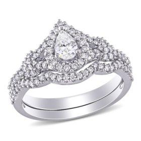 Allura 0.87 CT. T.W. Pear and Round-Cut Diamond Cluster Bridal Set in 14k White Gold