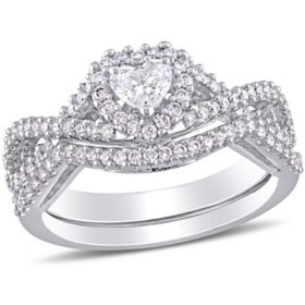 Allura 0.68 CT. T.W. Heart and Round-Cut Diamond Heart Infinity Bridal Set in 14k White Gold