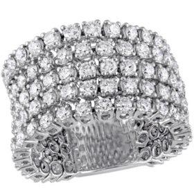 Allura 3.8 CT. Diamond Five Row Ring in 18K White Gold