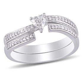Allura 0.4 CT. T.W. Heart and Round-Cut Diamond Heart Bridal Set in 14k White Gold