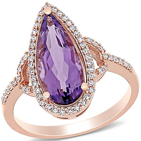 2.3 CT. T.W. Amethyst and 0.24 CT. T.G.W. Diamond Halo Teardrop Cocktail Ring in 14K Rose Gold