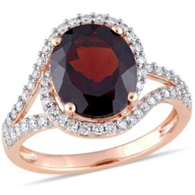 Allura 3.5 CT. T.G.W. Garnet and 0.48 CT. T.W. Diamond Bypass Cocktail Ring in 14K Rose Gold