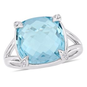 9 CT. Blue Topaz and White Topaz Cocktail Ring in Sterling Silver