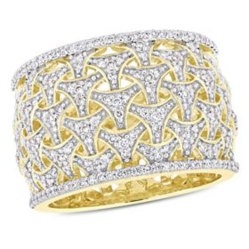 Allura 0.75 CT. Diamond Vintage Weaving Cluster Band in 14k Yellow Gold