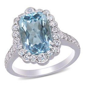 5.89 CT. Blue Topaz and White Topaz Halo Beaded Cocktail Ring in Sterling Silver
