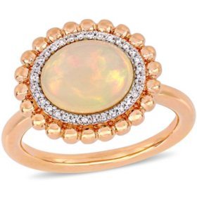 2 CT. T.G.W. Ethiopian Blue Opal and 0.096 CT. T.W. Diamond Double Halo Cocktail Ring in 14k Rose Gold