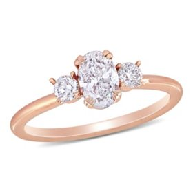 Allura 0.95 CT. T.W. Oval and Round-Cut Diamond Three Stone Engagement Ring in 14k Rose Gold