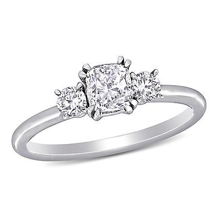 Allura 0.95 CT. T.W. Cushion and Round-Cut Diamond Three Stone Engagement Ring in 14k White Gold