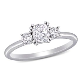 Allura 0.95 CT. T.W. Cushion and Round-Cut Diamond Three Stone Engagement Ring in 14k White Gold