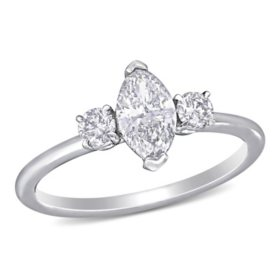 Allura 0.95 CT. T.W. Marquise and Round-Cut Diamond Three Stone Engagement Ring in 14k White Gold