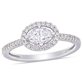 Allura 0.7 CT. T.W. Diamond Oval Halo Engagement Ring in 14k White Gold