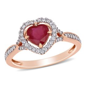 Allura 1 CT. T.G.W. Ruby and 0.23 CT. T.W. Diamond Heart Halo Engagement Ring in 14k Rose Gold