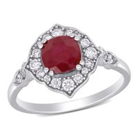 Allura Ruby and 0.28 CT. T.W. Diamond Engagement Ring in 14K White Gold