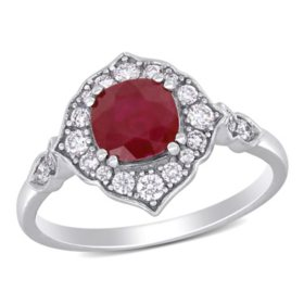 Allura 1.23 CT. T.G.W. Ruby and 0.32 CT. T.W. Diamond Engagement Ring in 14k White Gold
