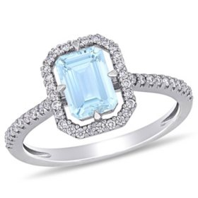 1 CT. T.G.W. Aquamarine and 0.24 CT. T.W. Diamond Octagon Engagement Ring in 14k White Gold