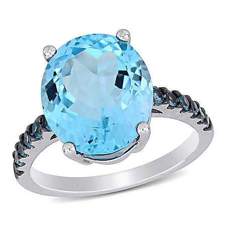 10.5 CT. T.G.W. Sky and London-Blue Topaz Cocktail Ring in Sterling Silver Black Rhodium Plated