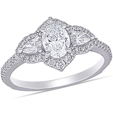 Allura 1.52 CT. T.W. Diamond Halo Engagement Ring in 14k White Gold