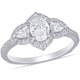 Allura 1.52 CT. T.W. Diamond Halo Engagement Ring in 14k White Gold