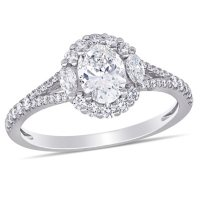 Allura 1.11 CT. T.W. Diamond Halo Engagement Ring in 14k White Gold
