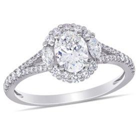 Allura 1.13 CT. T.W. Diamond Engagement Ring in 14k White Gold