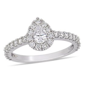 Allura 1 CT. T.W. Diamond Teardrop Halo Engagement Ring in 14k White Gold