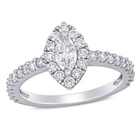 Allura 0.95 CT. T.W. Diamond Marquise Halo Engagement Ring in 14k White Gold