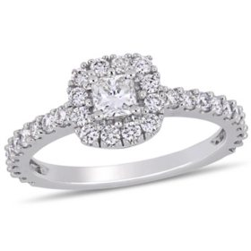 Allura 0.95 CT. T.W. Diamond Square Halo Engagement Ring in 14k White Gold