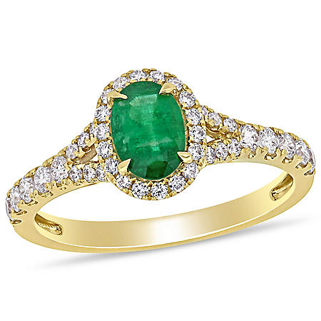 Allura 0.76 CT. T.G.W. Emerald and 0.45 CT. T.W. Diamond Engagement Ring in 14k Yellow Gold