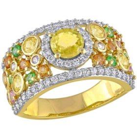 Allura 2.61 CT. T.G.W. Multi-Color Sapphire and 0.5 CT. T.W. Diamond Anniversary Ring in 14K Yellow Gold