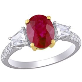 Allura 2.55 CT. T.G.W. Ruby, White Sapphire and 0.26 CT. T.W. Diamond 3-Stone Engagement Ring in 14K 2-Tone White and Yellow Gold
