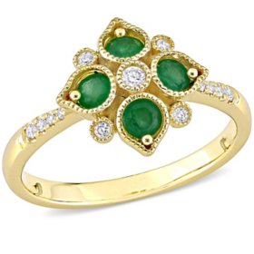 0.32 CT. T.G.W. Emerald and 0.1 CT. T.W. Diamond Filigree Ring in 14k Yellow Gold