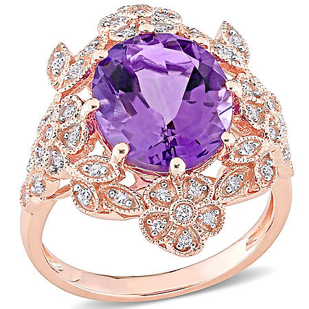 4 CT. Amethyst and 0.222 CT. T.W. Diamond Cocktail Ring in 14k Rose Gold