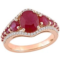 Allura Ruby and 0.28 CT. T.W Diamond Engagement Ring in 14K Rose Gold