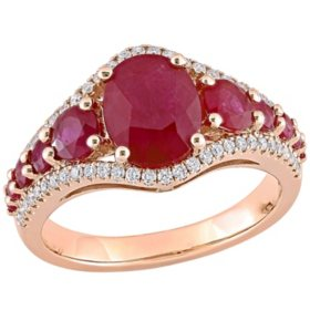 Allura 3.42 CT. T.G.W Ruby and 0.29 CT. T.W Diamond Engagement Ring in 14K Rose Gold