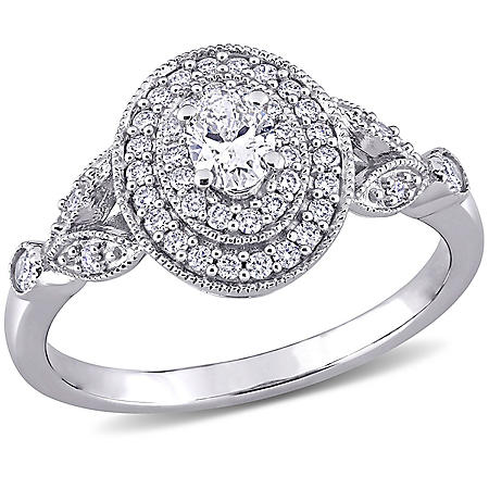Allura 0.5 CT. T.W. Oval and Round Diamonds Engagement Ring in 14k White Gold