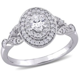 Allura 0.45 CT. T.W. Oval and Round Diamond Double Halo Engagement Ring in 14k White Gold