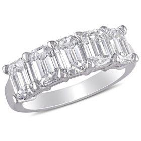Allura 2.45 CT. Emerald Diamond Semi-Eternity Anniversary Ring in 18k White Gold