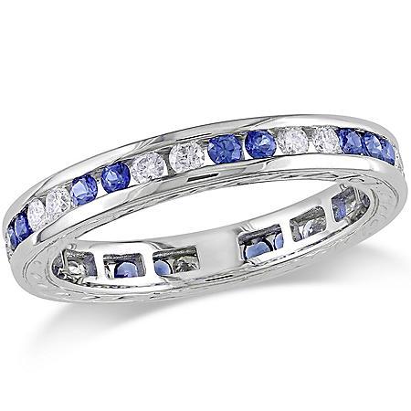 Allura 0.4 CT. Diamond and 0.59 CT. Sapphire Eternity Anniversary Ring in 18k White Gold