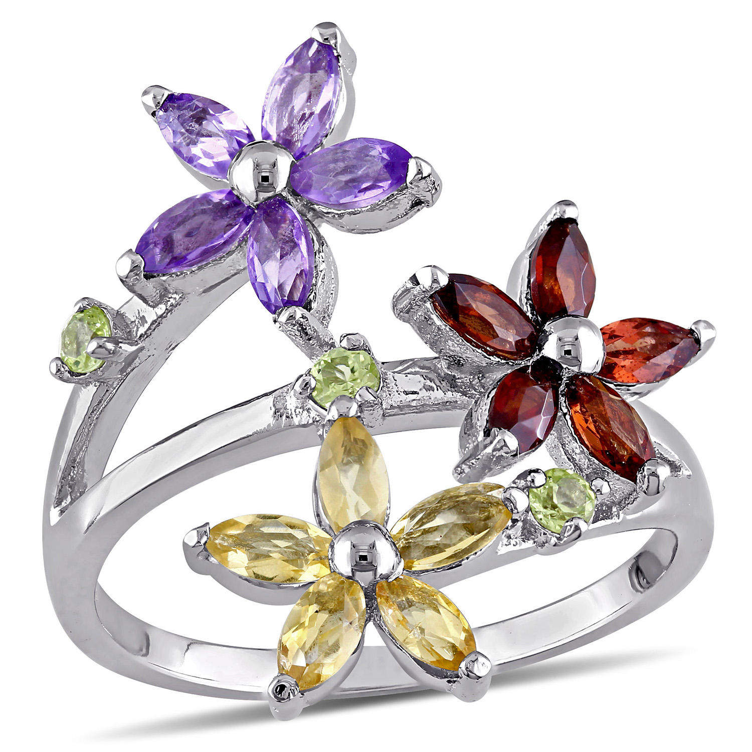 1.6 CT. T.G.W. Garnet, Citrine, Amethyst and Peridot Floral Ring in Sterling Silver
