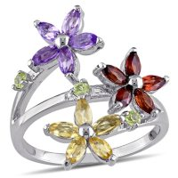 Garnet, Citrine, Amethyst and Peridot Floral Ring in Sterling Silver