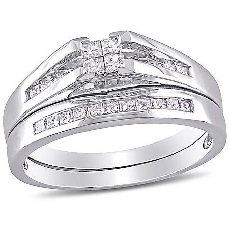 0.5 CT. T.W. Princess Cut Diamond Bridal Ring Set in 14k White Gold