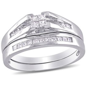 0.5 CT. T.W. Princess Cut Diamond Bridal Ring Set in 14k White Gold