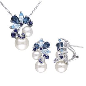 8.5-9 MM White Round Freshwater Cultured Pearl with 5.75 CT. Blue Topaz and Sapphire Floral Set of Pendant and Earrings in Sterling Silver