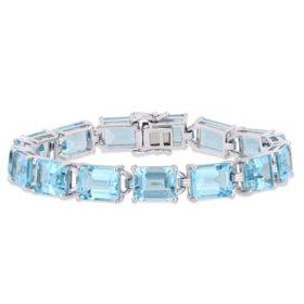 59.7 CT. T.G.W. Sky-Blue Topaz Tennis Bracelet in Sterling Silver