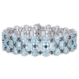 57.95 CT. T.G.W. Sky-Blue Topaz and 5.13 CT. T.G.W. London- Blue Topaz Triple Row Tennis Bracelet in Sterling Silver