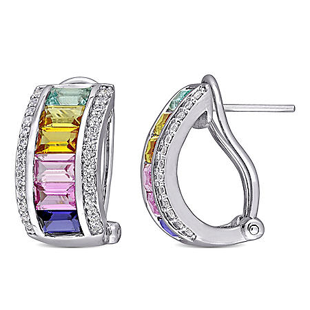 4.24 CT. T.G.W. Multi-Color Created Sapphire Cuff Earrings in Sterling Silver